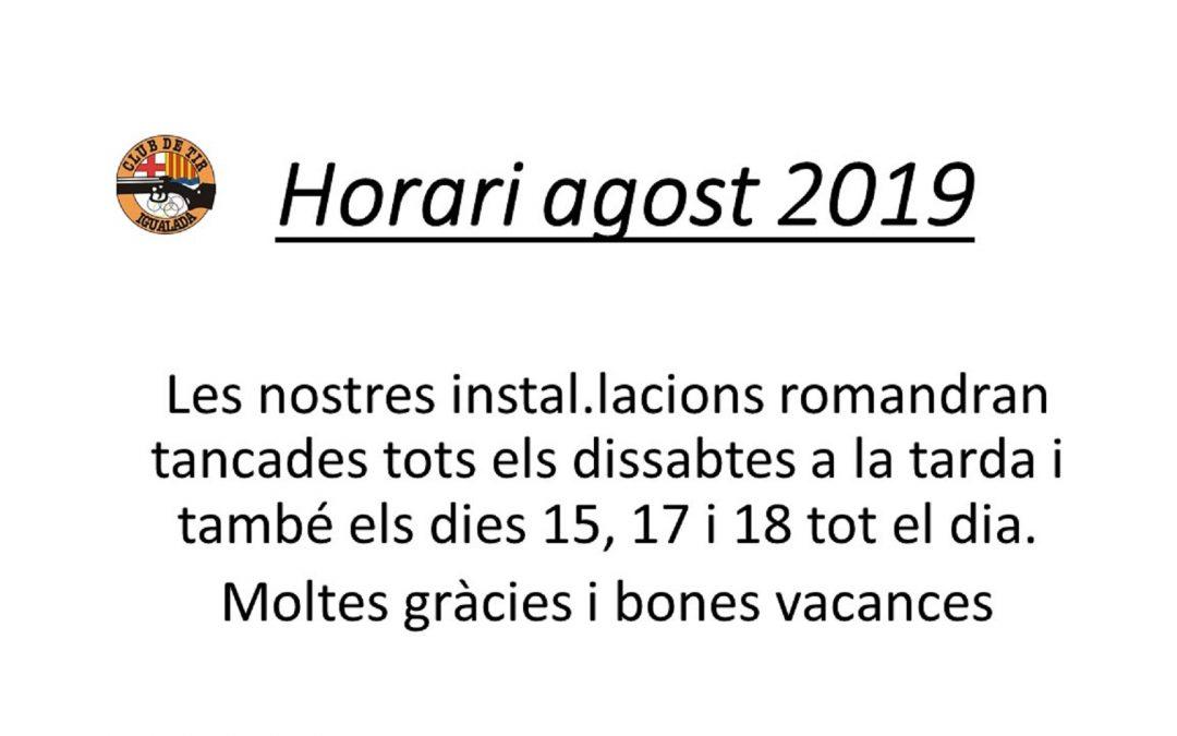 Horari agost 2019