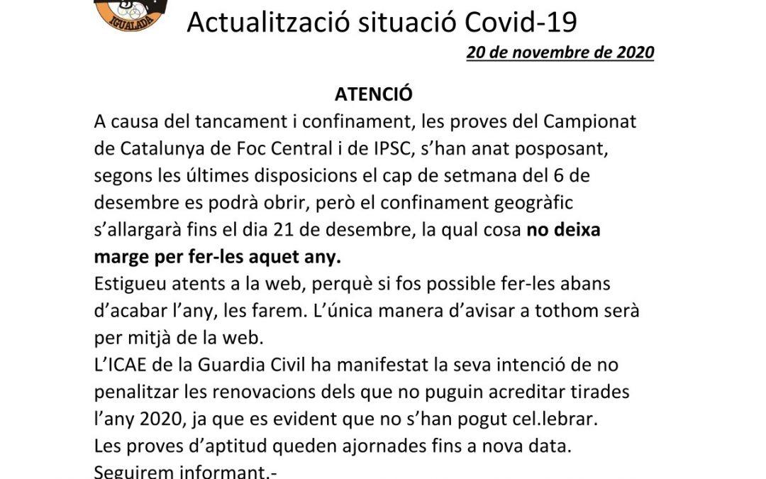 Covid-19 – Actualització 20/11/2020